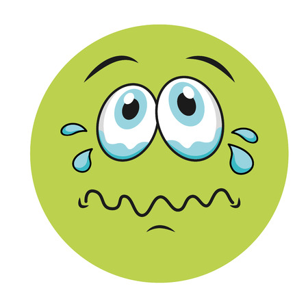 sad cartoon face icon, vector illustation character
