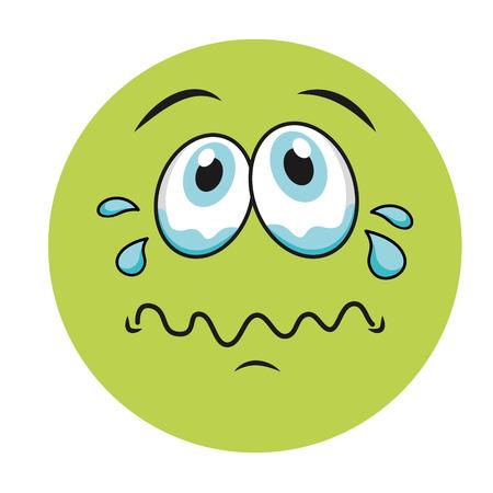 illustation: sad cartoon face icon, vector illustation character