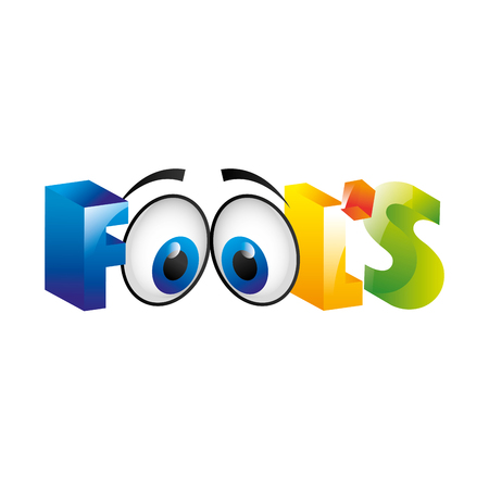 idiot box: fools day icon color letters vector illustration