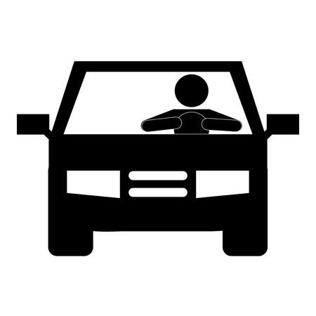 Mann fahren Symbol Auto Silhouette Vektor-Illustration