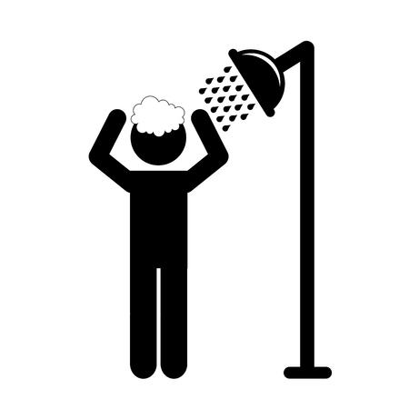 taking shower: man taking shower hygiene silhouette vector illustrator