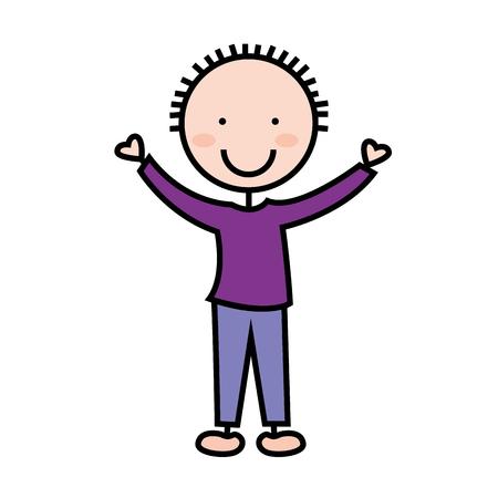 cartoon boy icon smiling fun, vector illustration Illustration