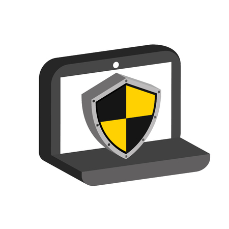 vacation with laptop: pc laptop security object icon vector illustration Illustration