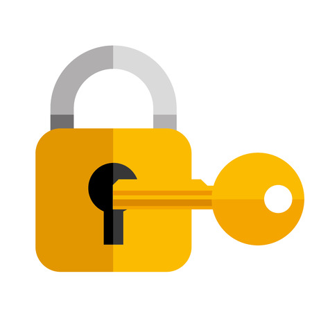 secutiy lock key object icon vector illustration Ilustração