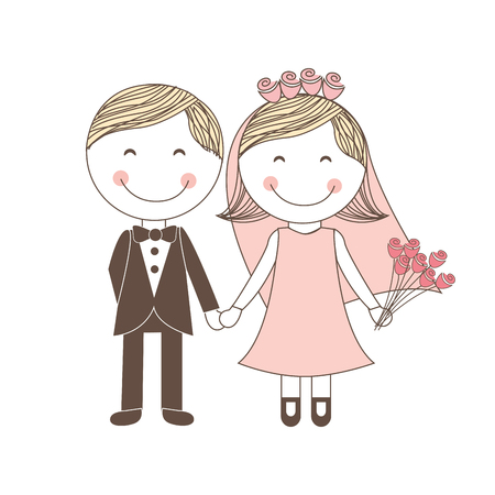 lovely couple: lovely couple both wedding icon, vector illustration