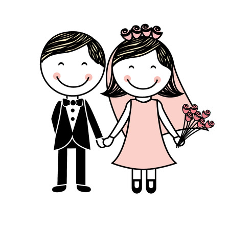 both: lovely couple both wedding icon, vector illustration