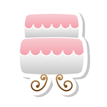 wedding cake: lovely sweet cake wedding icon, vector illustration