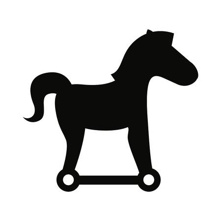 the trojan: trojan silhouette virus icon vector isolated graphic Illustration