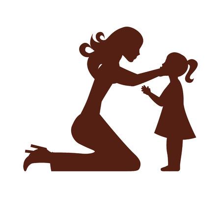moeder dochter vrouw meisje vector geïsoleerd grafisch
