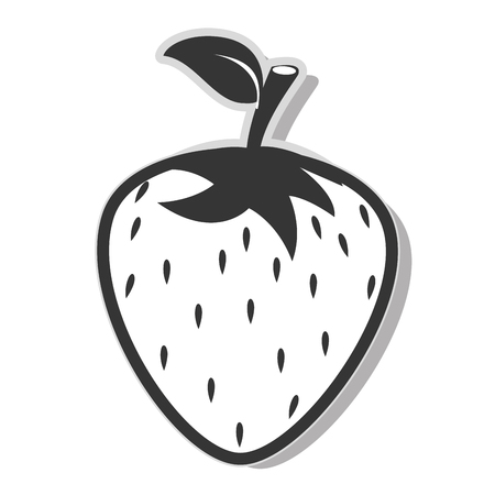 Delicious and fresh strawberry fruit, isolated flat icon design vector illustration.