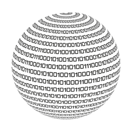space program: sphere circle binary code icon vector isolated graphic