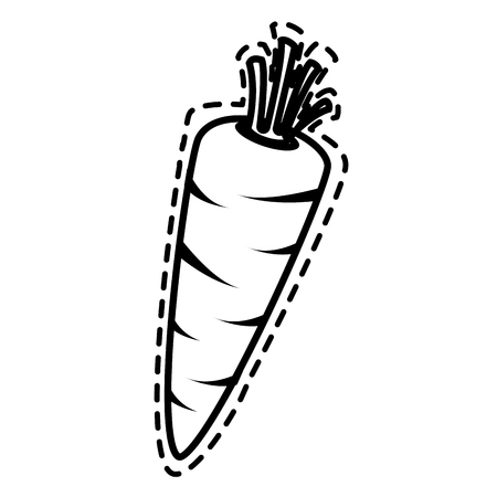 cookware: Delicious and fresh carrot vegetable, isolated flat icon design vector illustration.