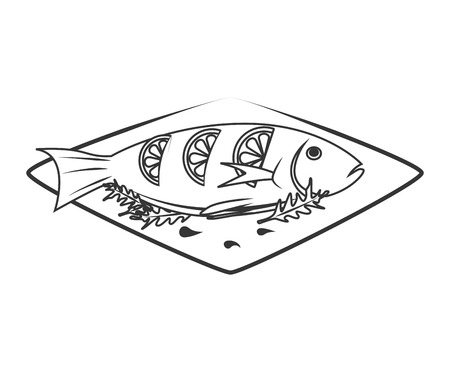 appetizers: Seafood animal isolated flat icon in black and white, vector illustration graphic. Illustration