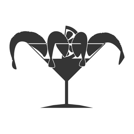 shrimp cocktail: Seafood animal isolated flat icon in black and white, vector illustration graphic. Illustration
