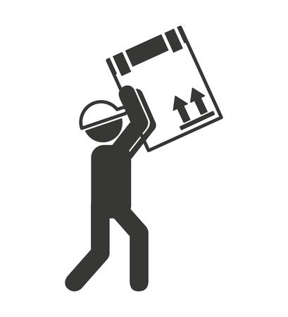 courier: worker man courier icon vector isolated graphic
