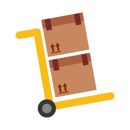 graphique handcart panier boîtes carton icône vecteur isolé