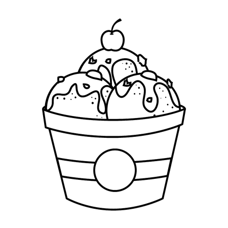 Delicious ice cream with cherry in black and white colors, vector illustration. Illustration