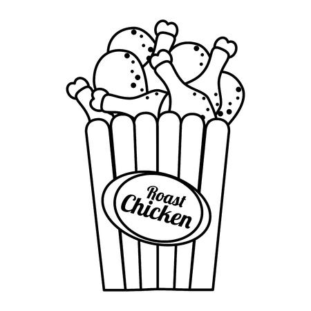Delicious roast chicken fast food isolated flat icon, vector illustration. Illustration