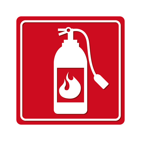 extinguishing: extinguisher signal silhouette icon graphic isolated vector Illustration
