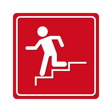 evacuate: man running stairs emergency icon graphic isolated vector