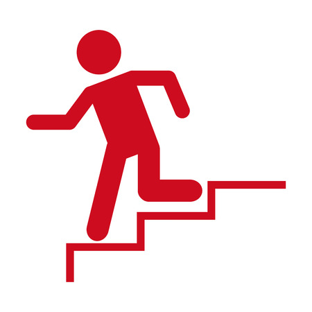 man running stairs emergency icon graphic isolated vector