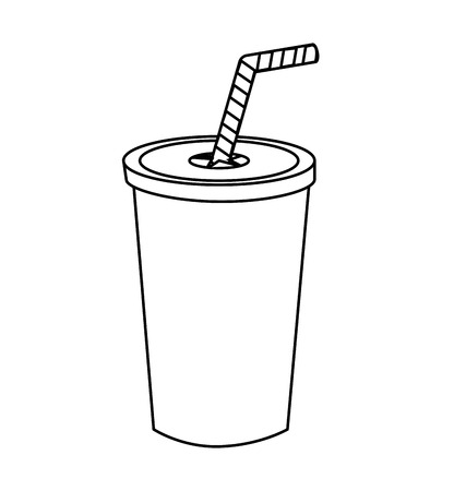 Drink in plastic cup isolated flat icon, vector illustration graphic.
