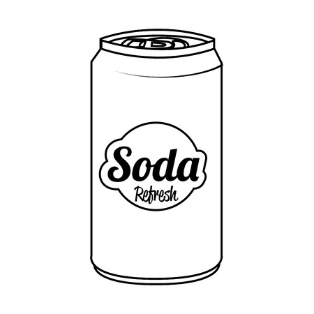 lata de refresco: Soda can isolated flat icon, vector illustration graphic.