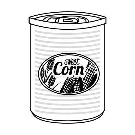 tinned: Delicious sweet corn canned isolated flat icon, vector illustration. Illustration