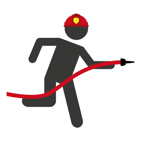 hose firefighter man icon graphic isolated vector Illustration