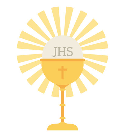 chalice: cup gold chalice first communion icon graphic isolated vector Illustration