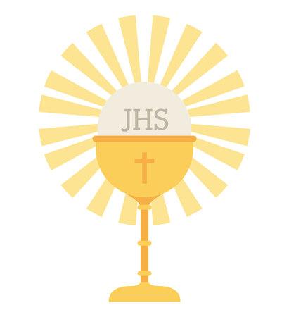 cup gouden kelk eerste communie pictogram geïsoleerd grafisch vector