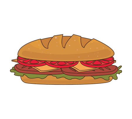 fattening: Delicious sandwich fast food isolated flat icon, vector illustration.