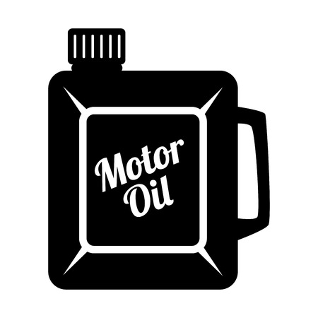 motor oil: Motor oil can black and white colors isolated flat icon Illustration