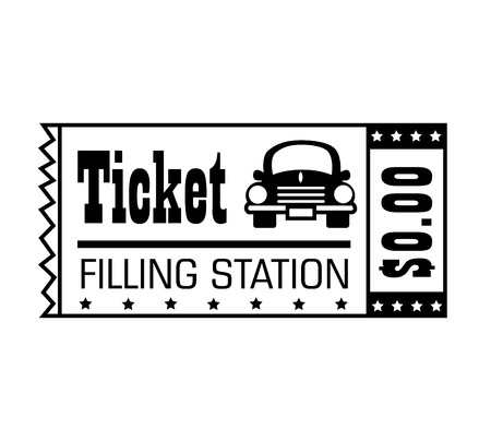 filling station: Filling station ticket black and white colors isolated flat icon