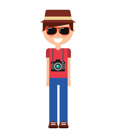 tourist man traveler icon graphic isolated vector Illustration