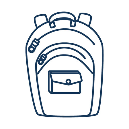 educational tools: school backpack utensil blue icon, isolated flat design Illustration