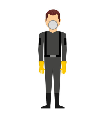 security uniform: worker man uniform security icon graphic isolated vector