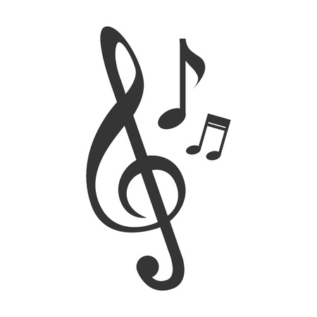 melody: Music note melody in black and white colors, isolated flat icon.