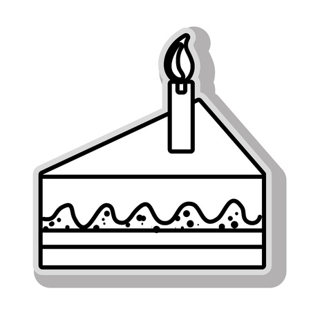 buttercream: Delicious dessert cake in black and white colors, isolated flat icon. Illustration