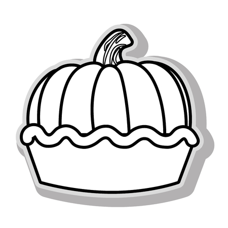 pumpkin pie: delicious pie dessert in black and white colors, isolated flat icon.