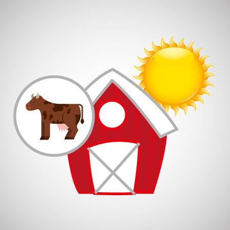 p buildings: farm countryside cow animal isolated, vector illustration