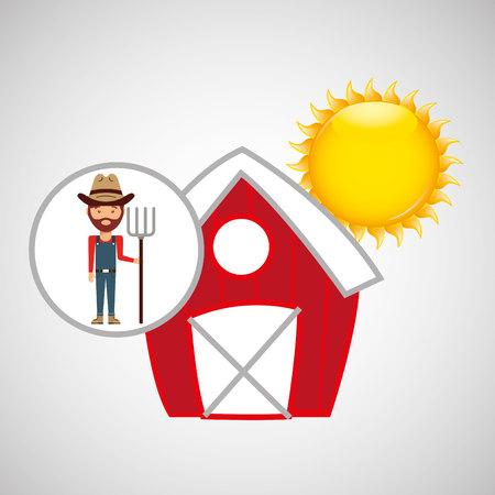 p buildings: farm countryside people farmer isolated, vector illustration Illustration