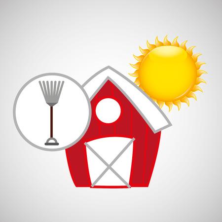 p buildings: farm countryside rake tool isolated, vector illustration