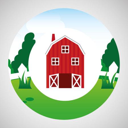 p buildings: farm countryside farmhouse isolated, vector illustration