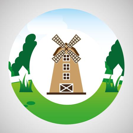 p buildings: farm countryside windmill isolated, vector illustration Illustration