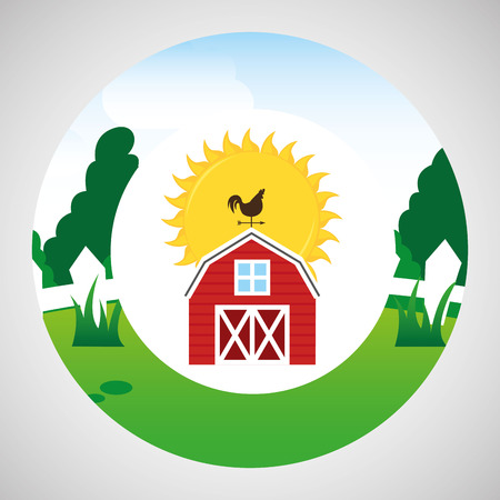 p buildings: farm countryside weather vane isolated, vector illustration
