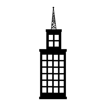 metropolis image: Tower building real estate , isolated flat icon with black and white colors.