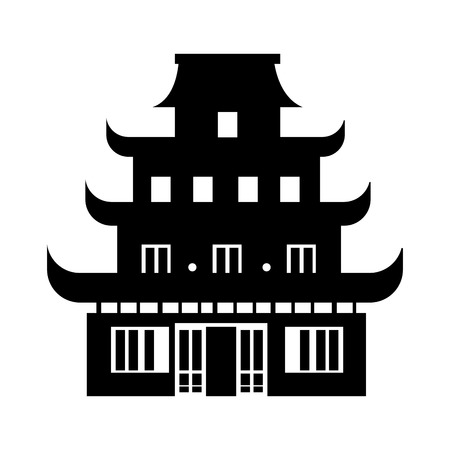 chinesse: Chinesse temple building , isolated flat icon with black and white colors.
