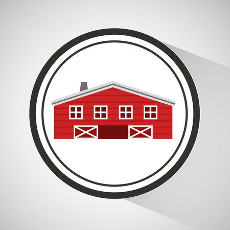 farmhouse: farm countryside house home farmhouse isolated, vector illustration