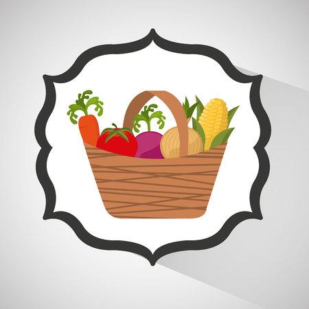 farm countryside vegetables isolated, vector illustration Ilustração